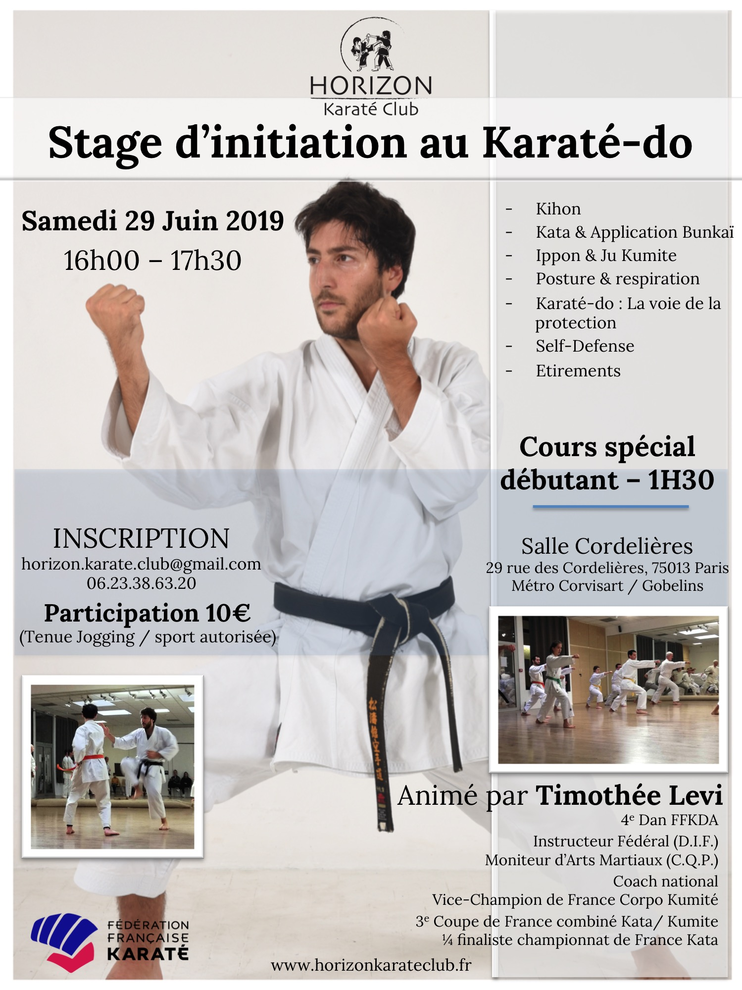 Flyer stage Karate initiation